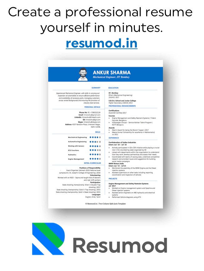Resumod.in for Creating a Resume in minutes