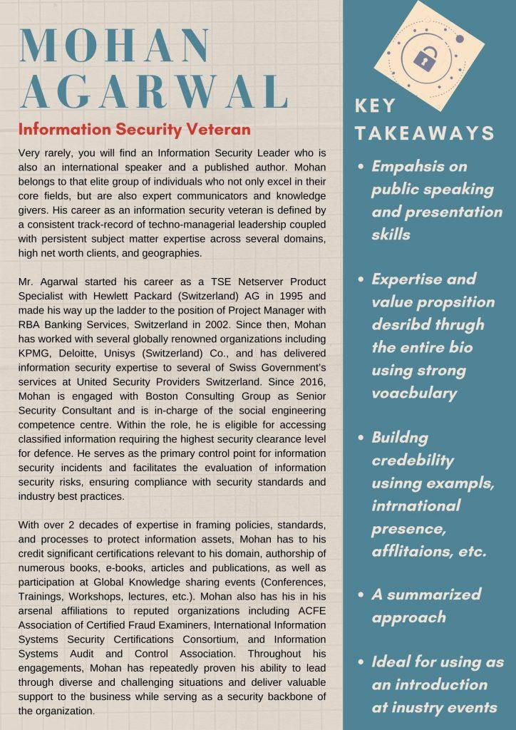 Information Security Professional Bio - GetSetResumes