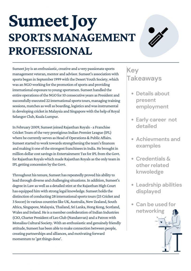 Sports Management Professional Bio - GetSetResumes