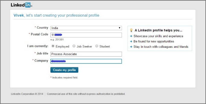how to create a linkedin profile - basic info