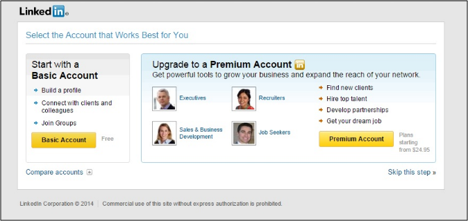 how to create a linkedin profile - completing the signup