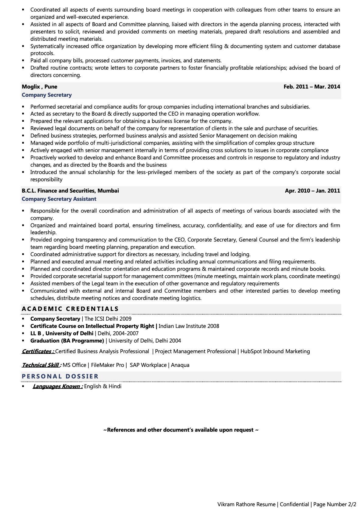 Company Secretary - Resume Example & Template
