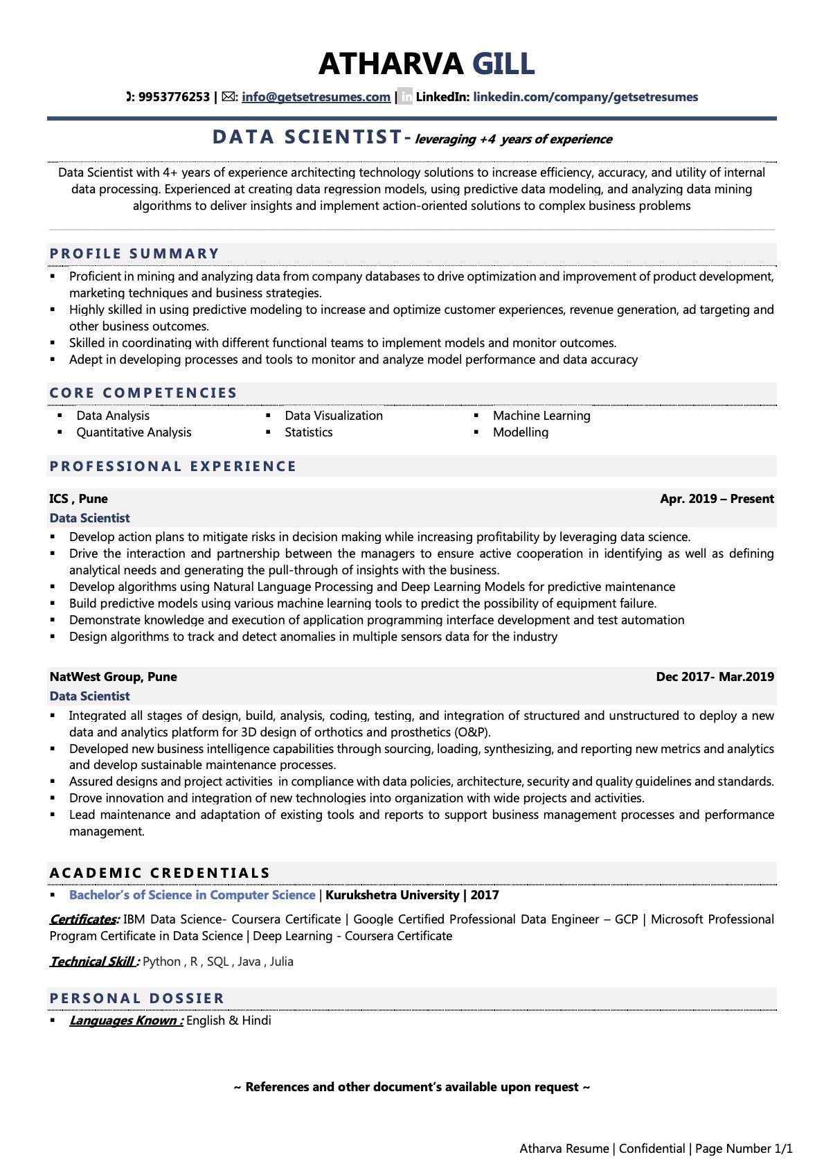 Data Scientist - Resume Example & Template