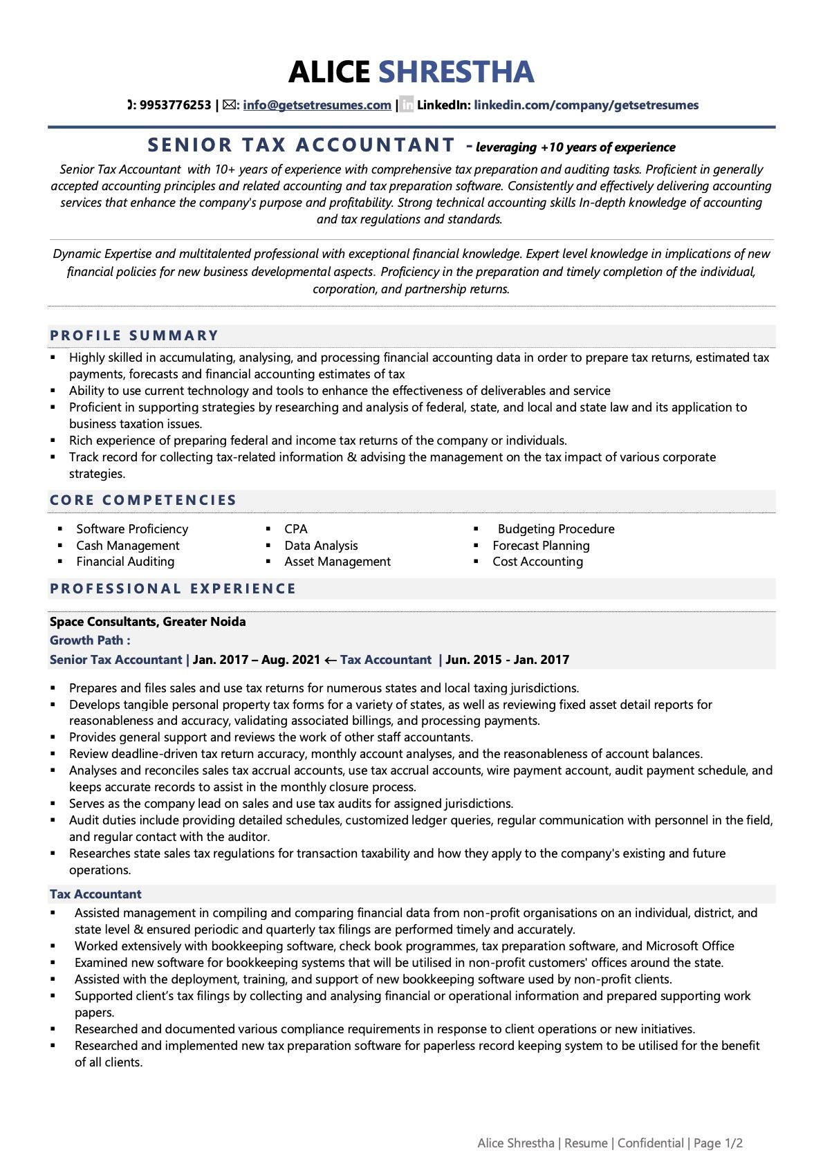 Tax Accountant - Resume Example & Template