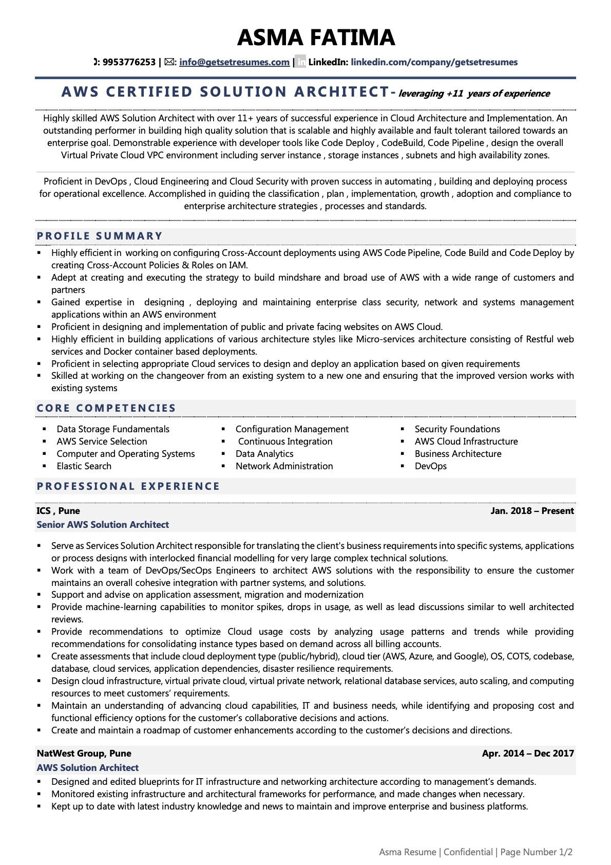 AWS Solution Architect - Resume Example & Template