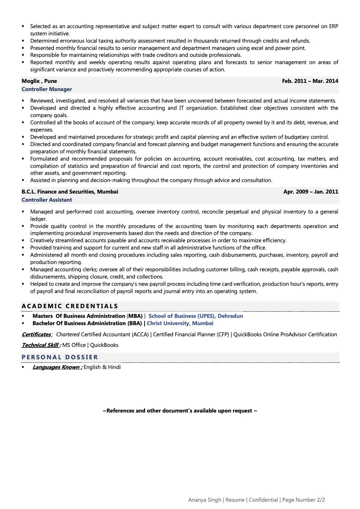 Controller - Resume Example & Template