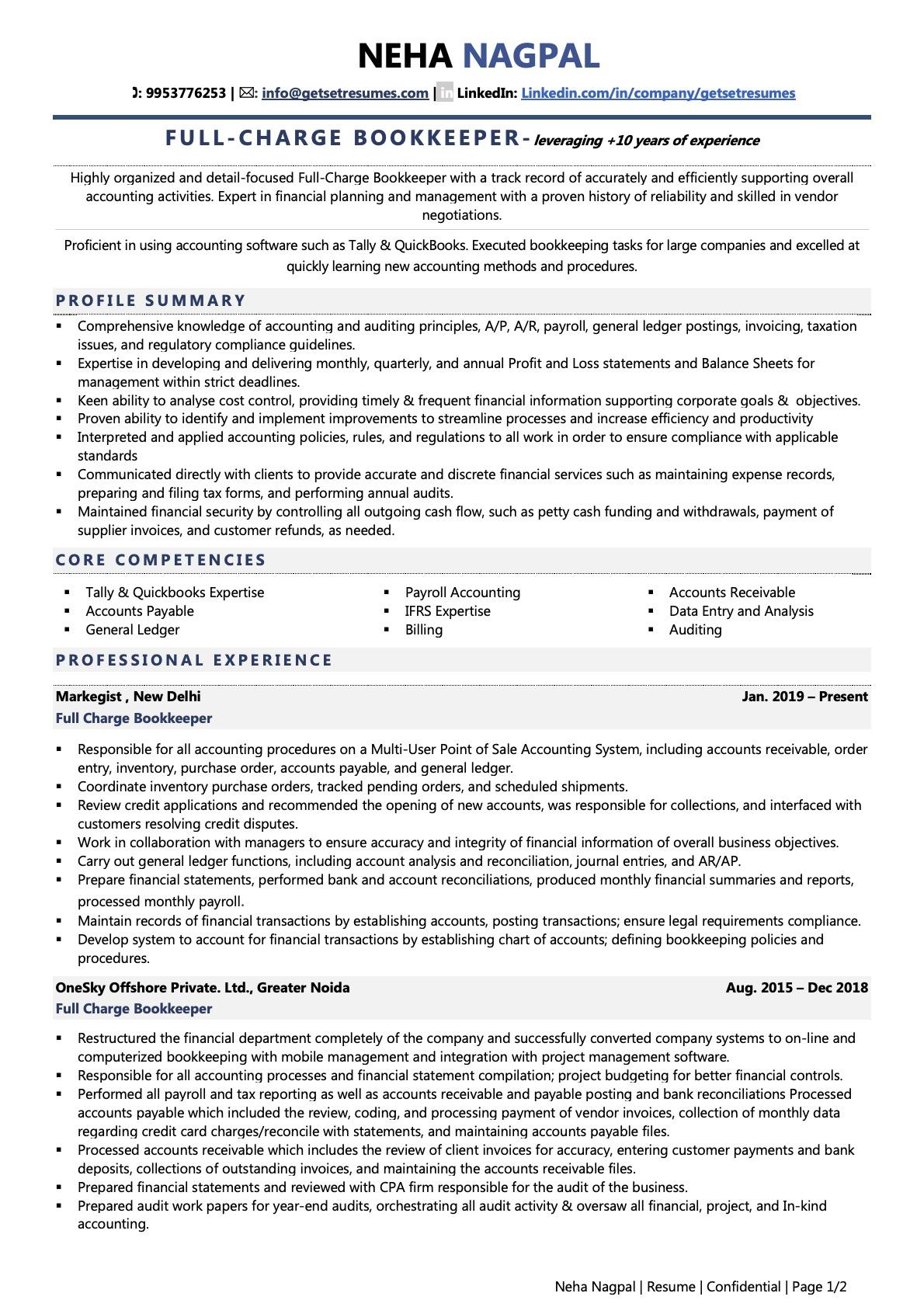 Bookkeeper - Resume Example & Template