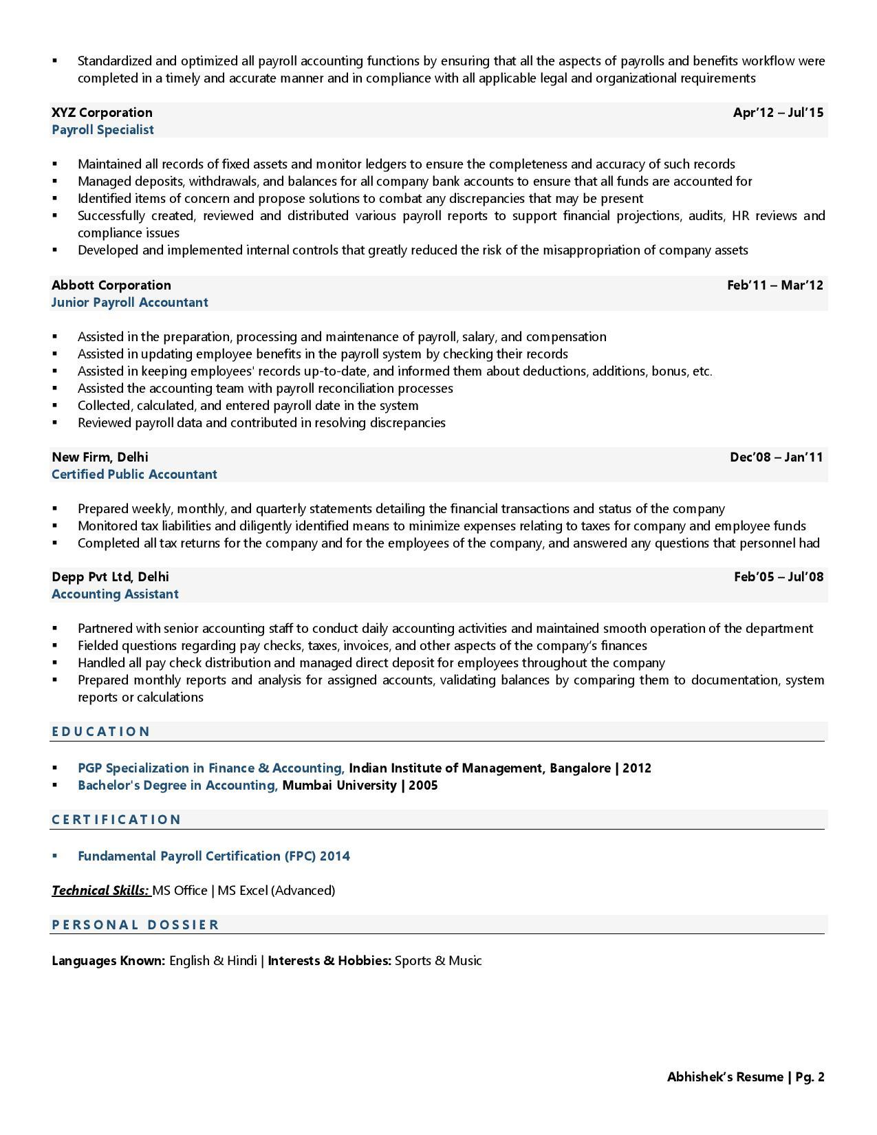 Payroll Accountant - Resume Example & Template