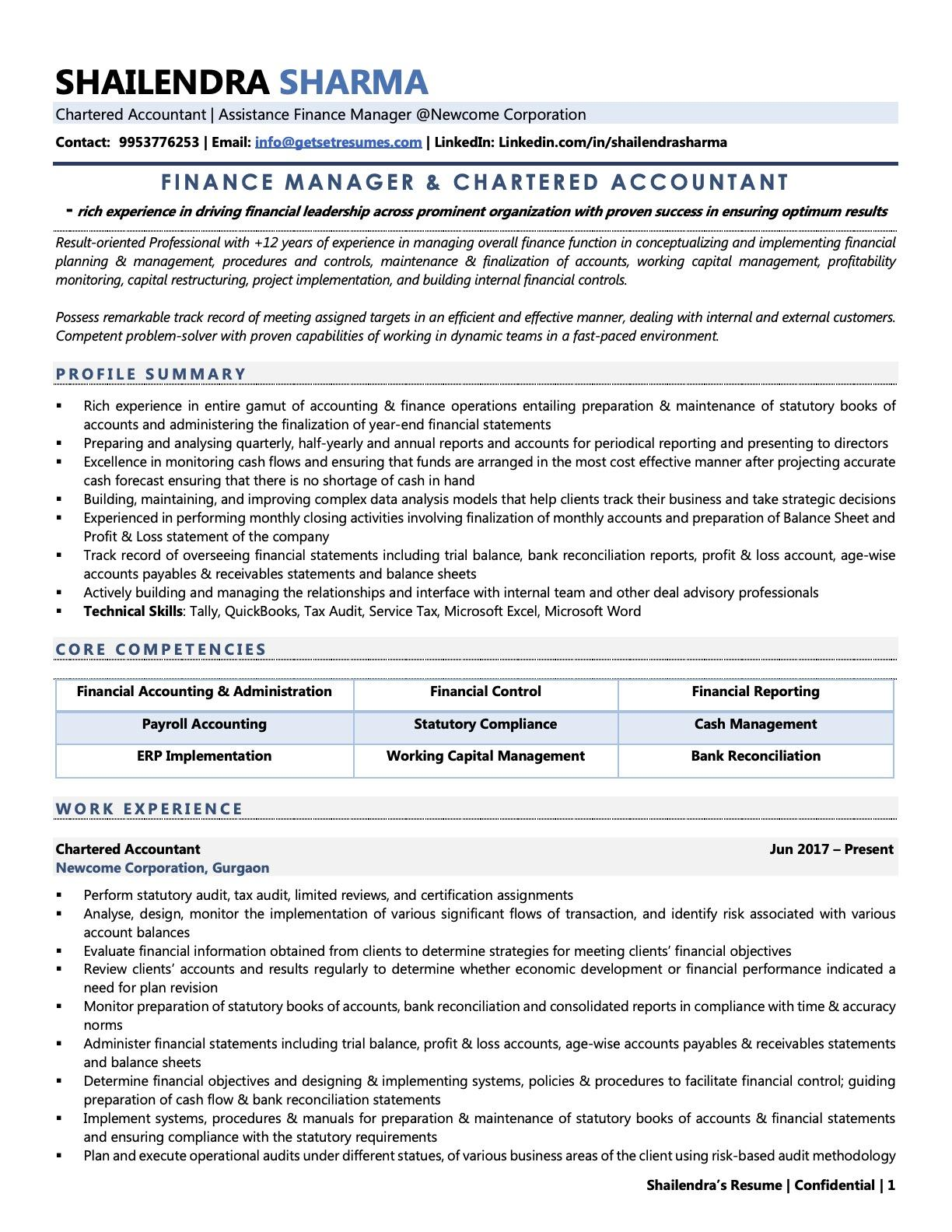 Chartered Accountant (CA) - Resume Example & Template