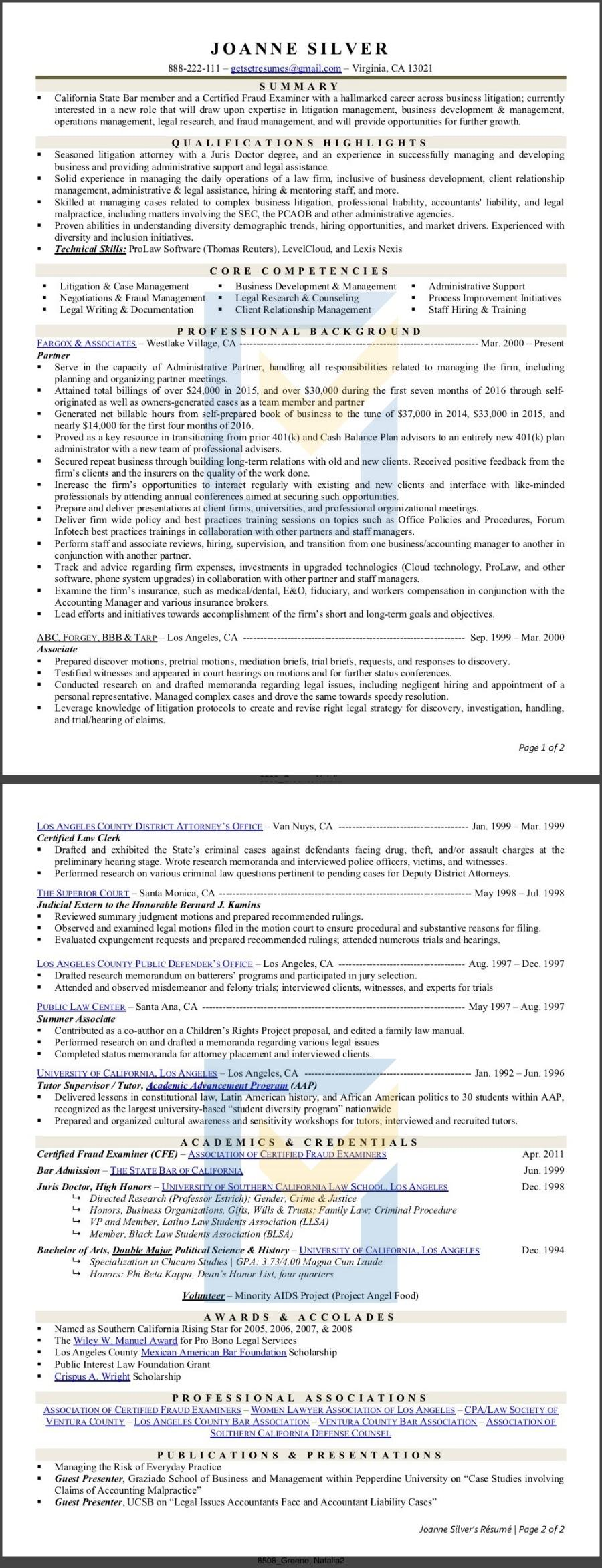 Resume of a Legal / Paralegal / Litigator / Advocate / Lawyer