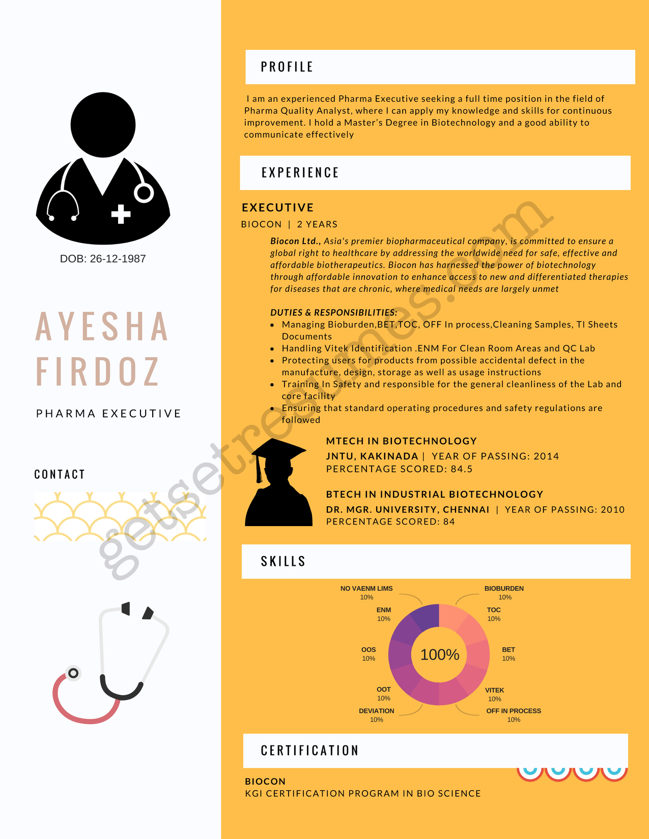 Infographic Resume for junior Pharma Executive