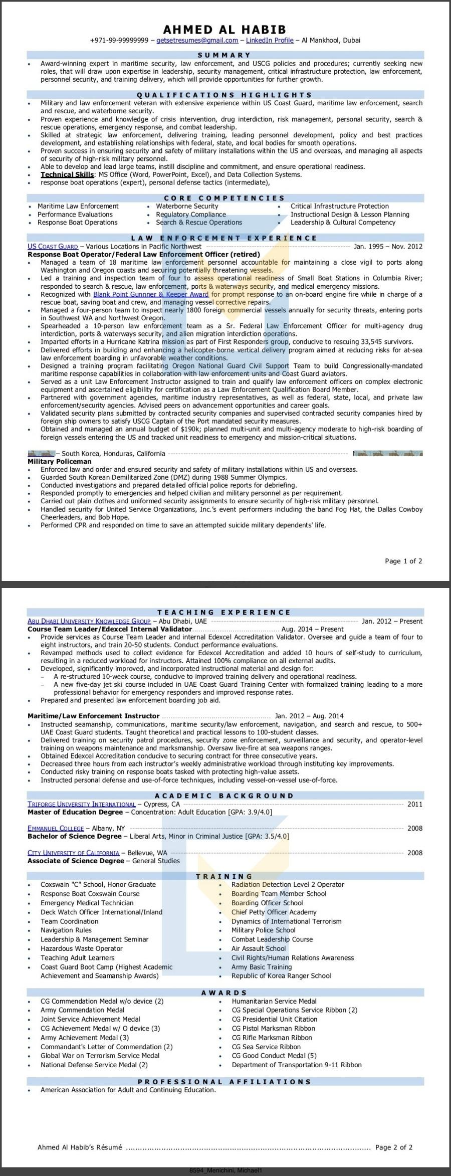 Law Enforcement Police Officer Resume