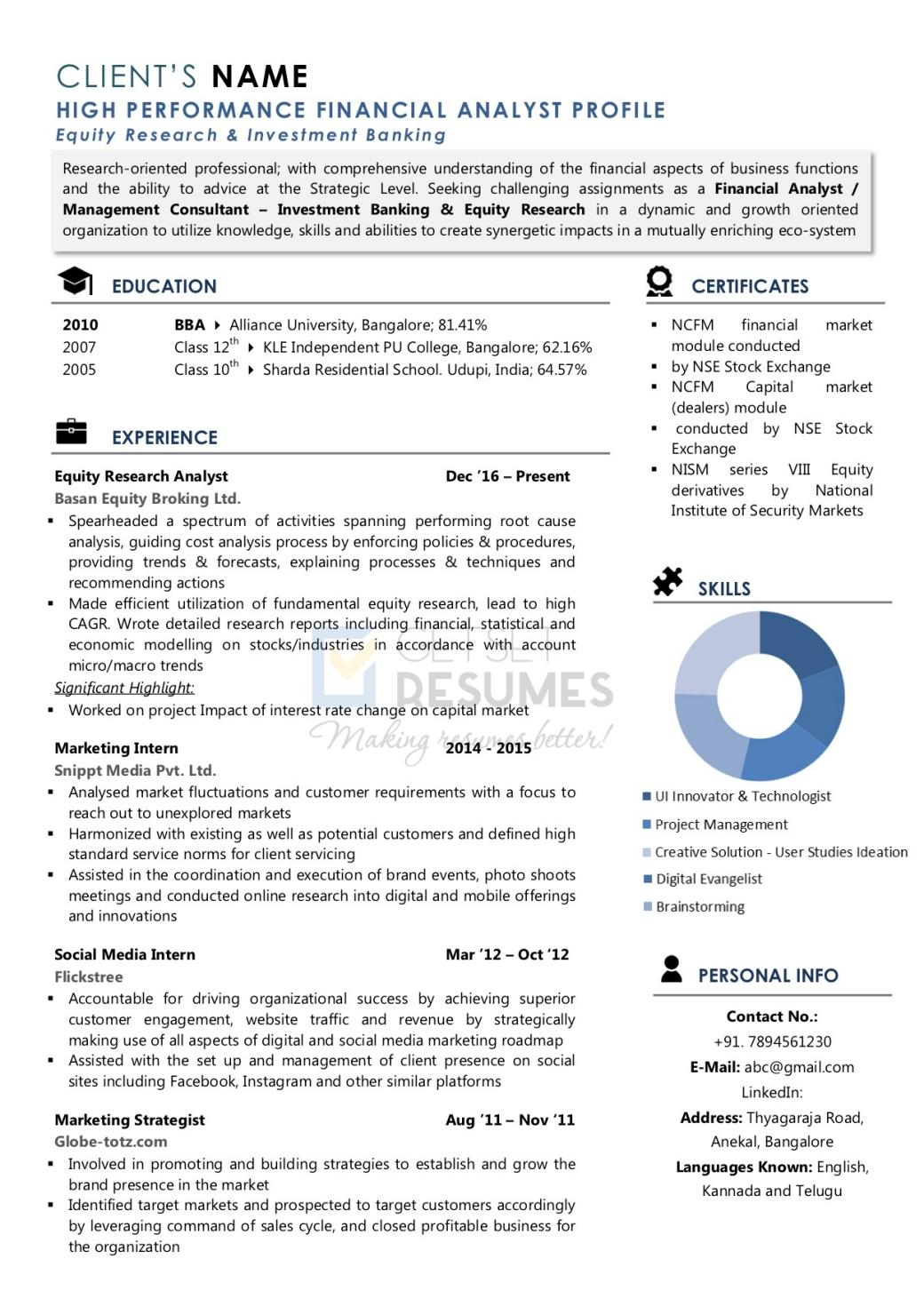 Resume Sample for Financial Analyst, Resume Sample for Equity Research, Resume Sample for Investment Analyst