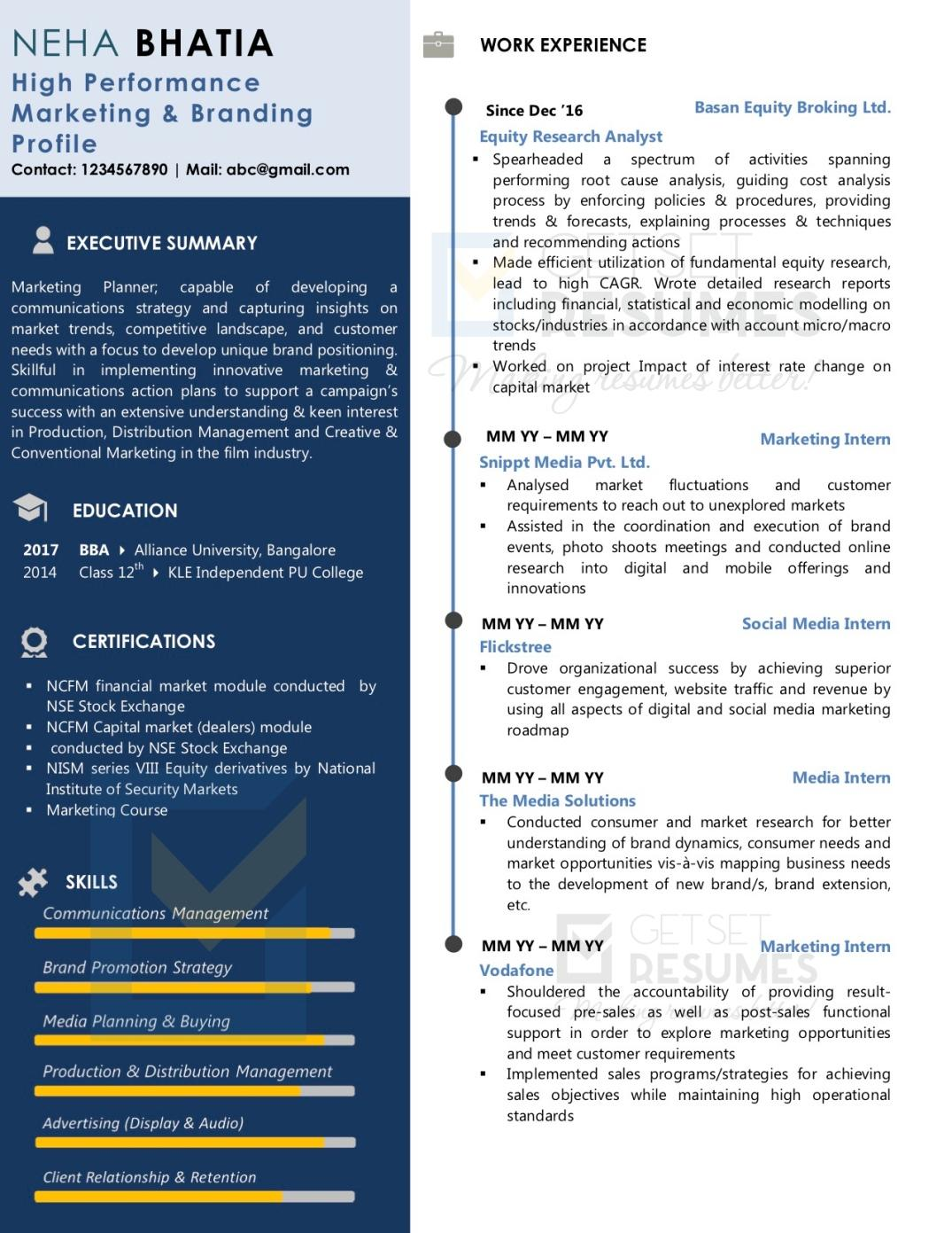 One Page Sample Resume, Marketing and Finance mixed profile, Mid Career Resume Samples India