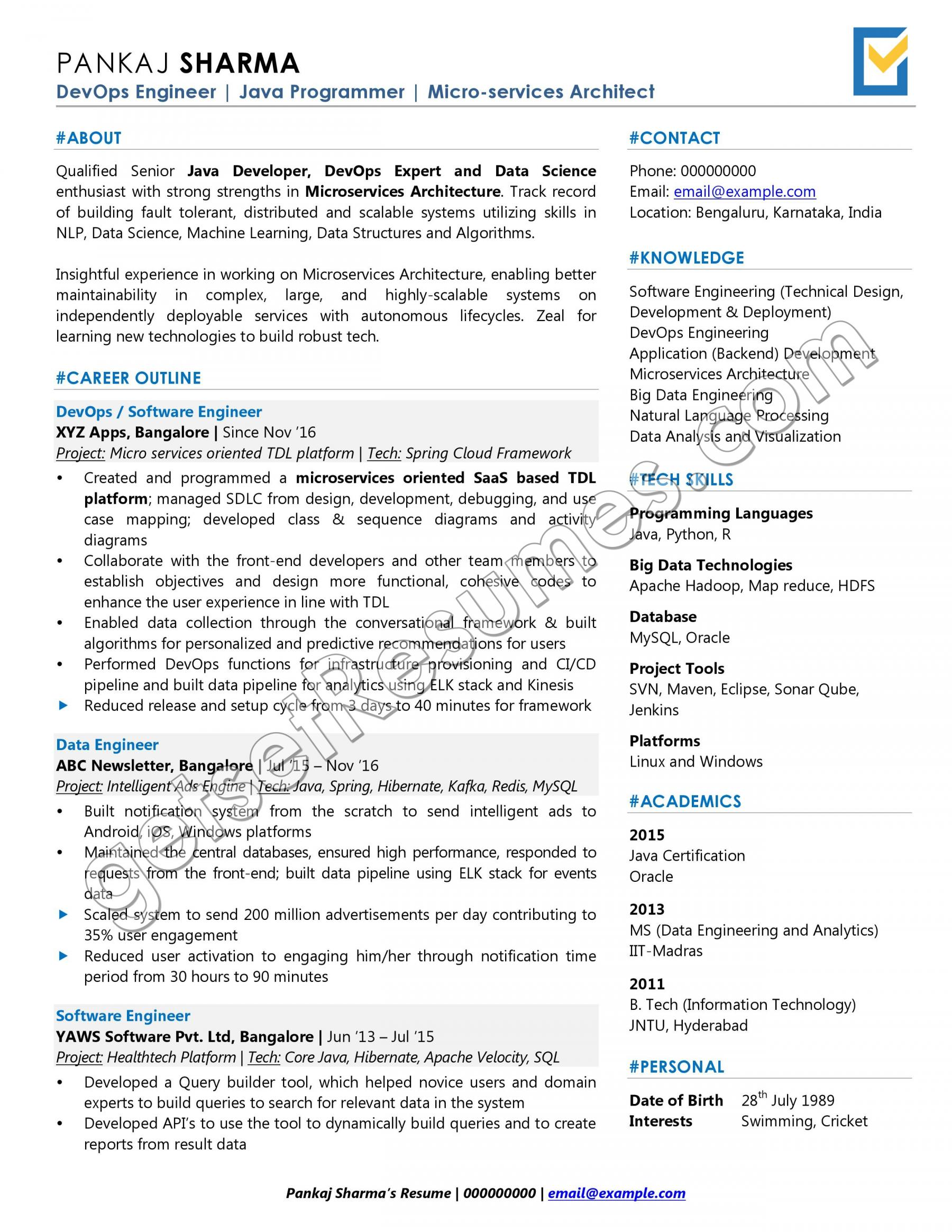 One-page Resume Sample for Software Professionals / Developers