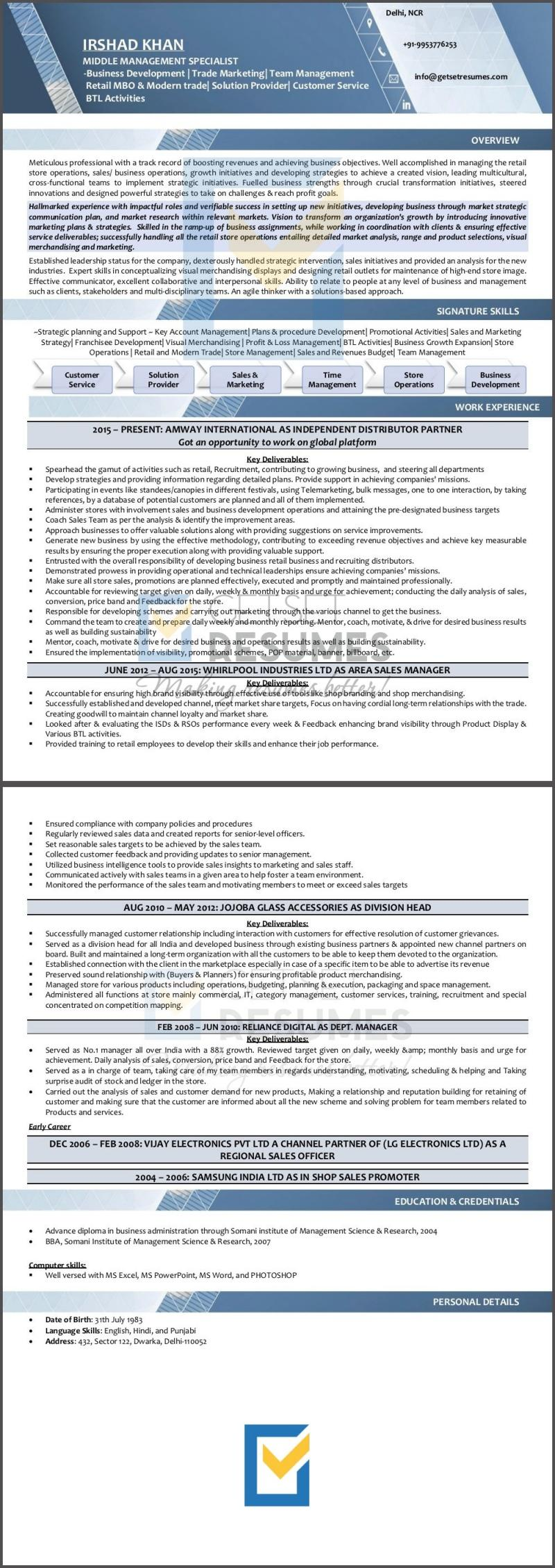 Area Sales Manager & Business Development Manager Resume Sample by GetSetResumes