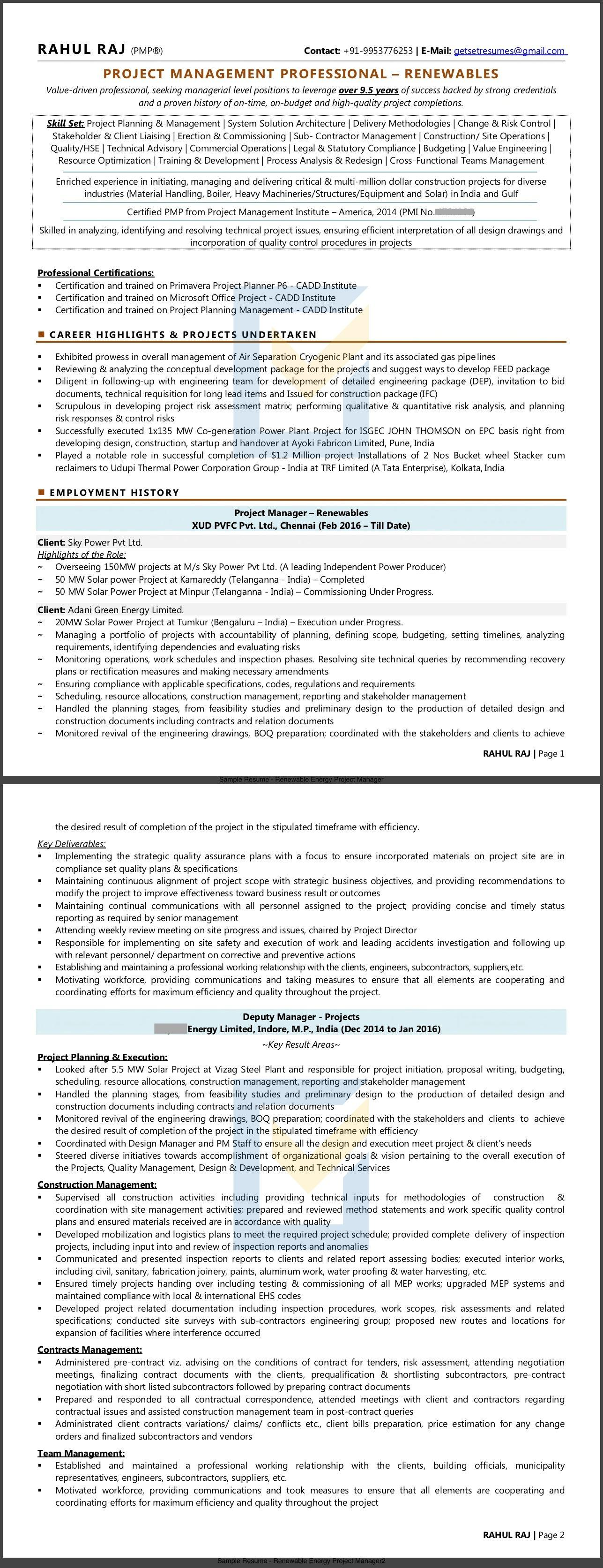 Sample Resume of PMP Project Manager in Renewable Energy / Solar sector