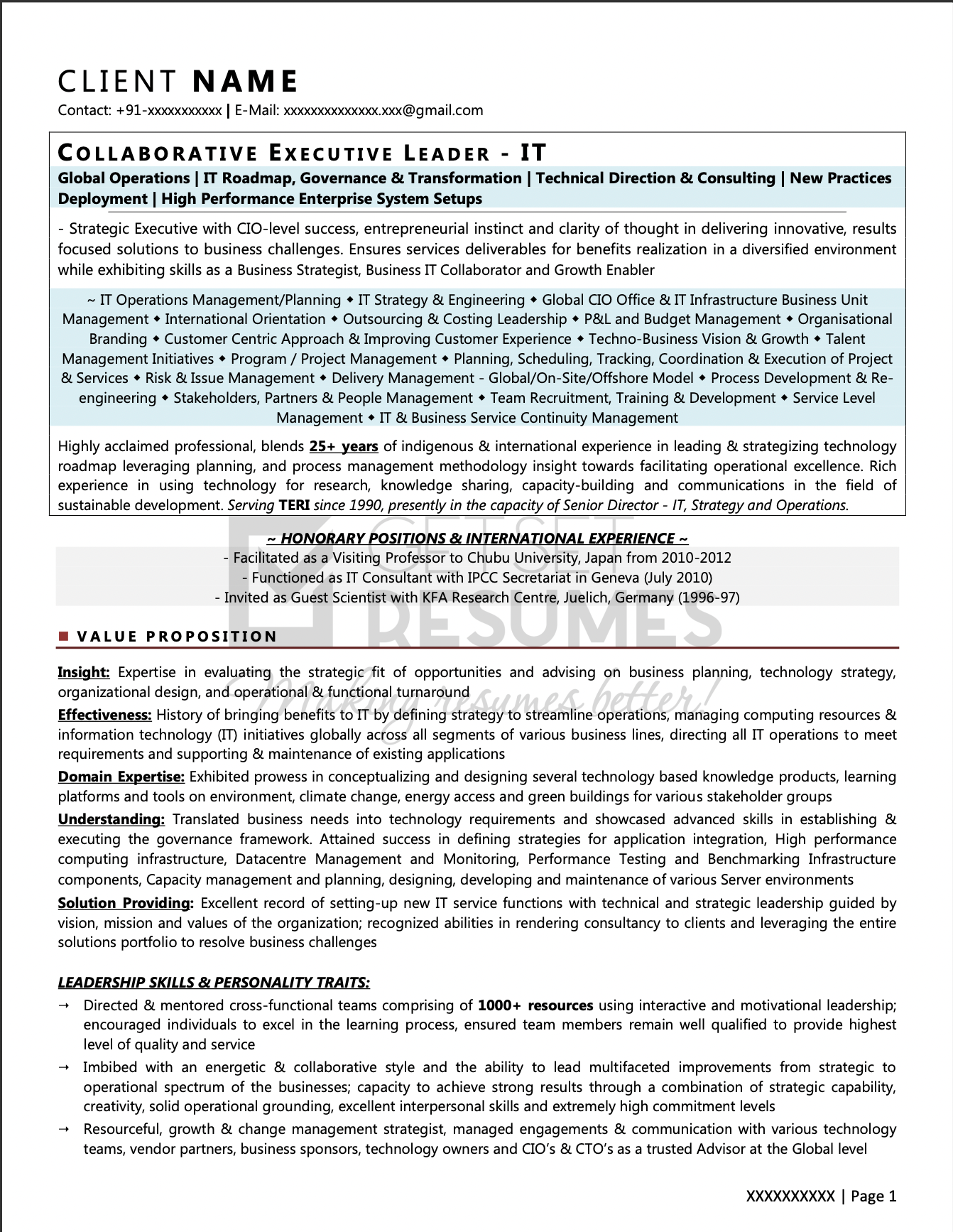 Sample Resume for Vice President (VP) of IT Strategy & Operations with 22 years experience